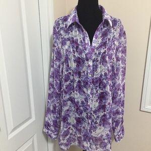 Liz Claiborne Violet/Purple Sheer Floral Blouse L